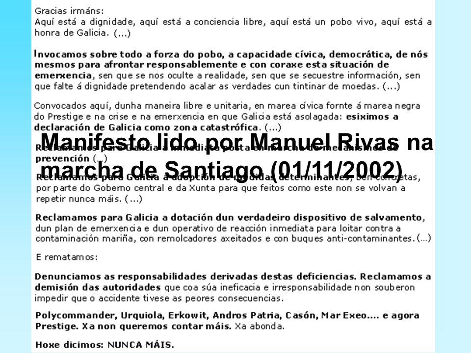 Manifesto lido por Manuel Rivas na marcha de Santiago (01/11/2002)
