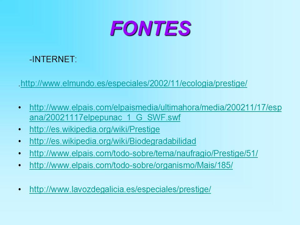FONTES -INTERNET:.http://www.elmundo.es/especiales/2002/11/ecologia/prestige/http://www.elmundo.es/especiales/2002/11/ecologia/prestige/ http://www.elpais.com/elpaismedia/ultimahora/media/200211/17/esp ana/20021117elpepunac_1_G_SWF.swfhttp://www.elpais.com/elpaismedia/ultimahora/media/200211/17/esp ana/20021117elpepunac_1_G_SWF.swf http://es.wikipedia.org/wiki/Prestige http://es.wikipedia.org/wiki/Biodegradabilidad http://www.elpais.com/todo-sobre/tema/naufragio/Prestige/51/ http://www.elpais.com/todo-sobre/organismo/Mais/185/ http://www.lavozdegalicia.es/especiales/prestige/