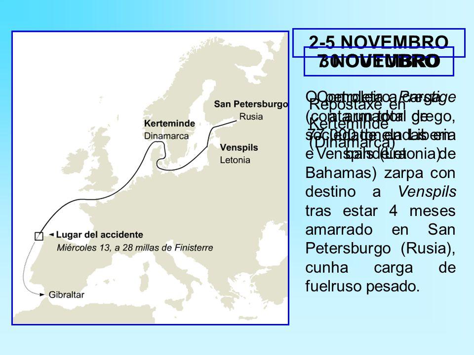 O petroleiro Prestige (con armador grego, sociedade en Liberia e bandeira de Bahamas) zarpa con destino a Venspils tras estar 4 meses amarrado en San Petersburgo (Rusia), cunha carga de fuelruso pesado.