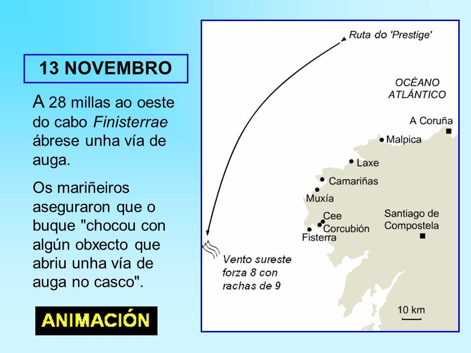 A 28 millas ao oeste do cabo Finisterrae ábrese unha vía de auga.