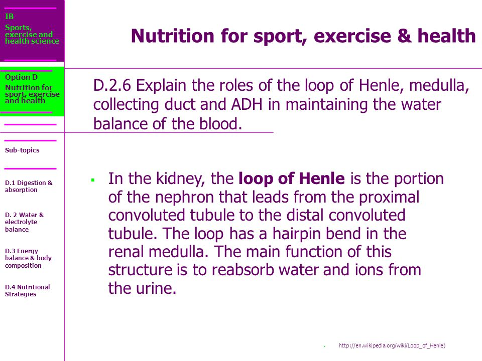 IB Sports, exercise and health science Sub-topics D.2.6 Explain the roles of the loop of Henle, medulla, collecting duct and ADH in maintaining the water balance of the blood.