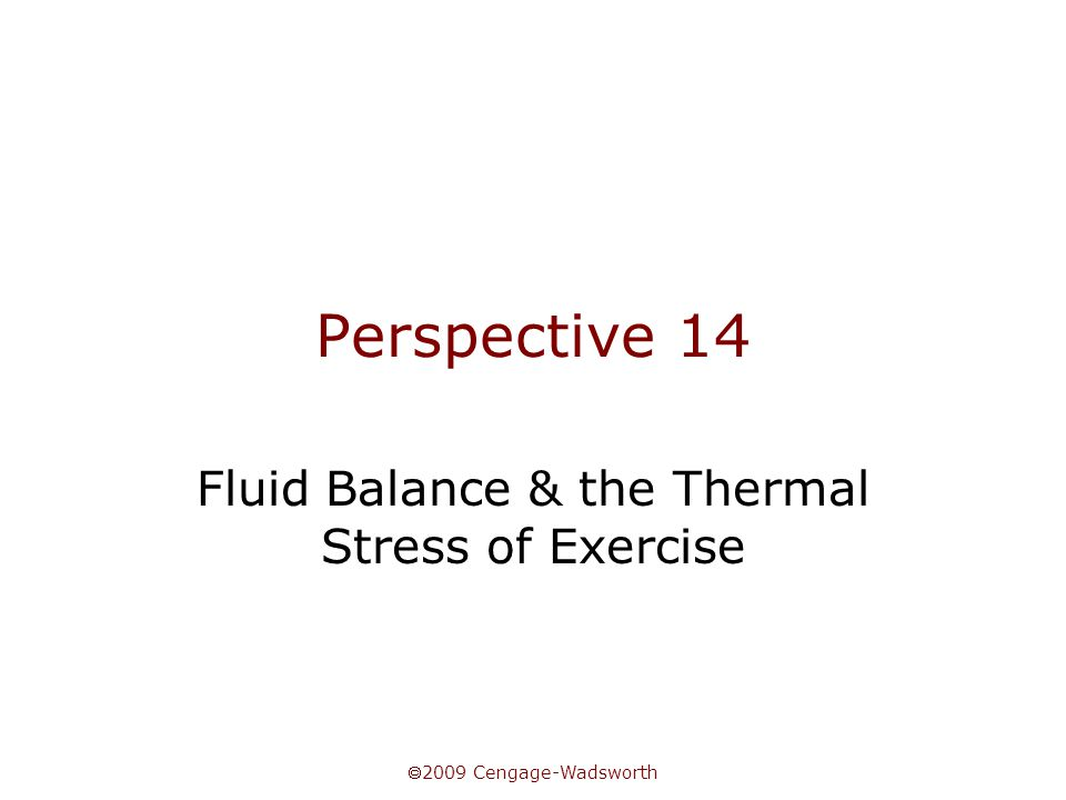  2009 Cengage-Wadsworth Perspective 14 Fluid Balance & the Thermal Stress of Exercise