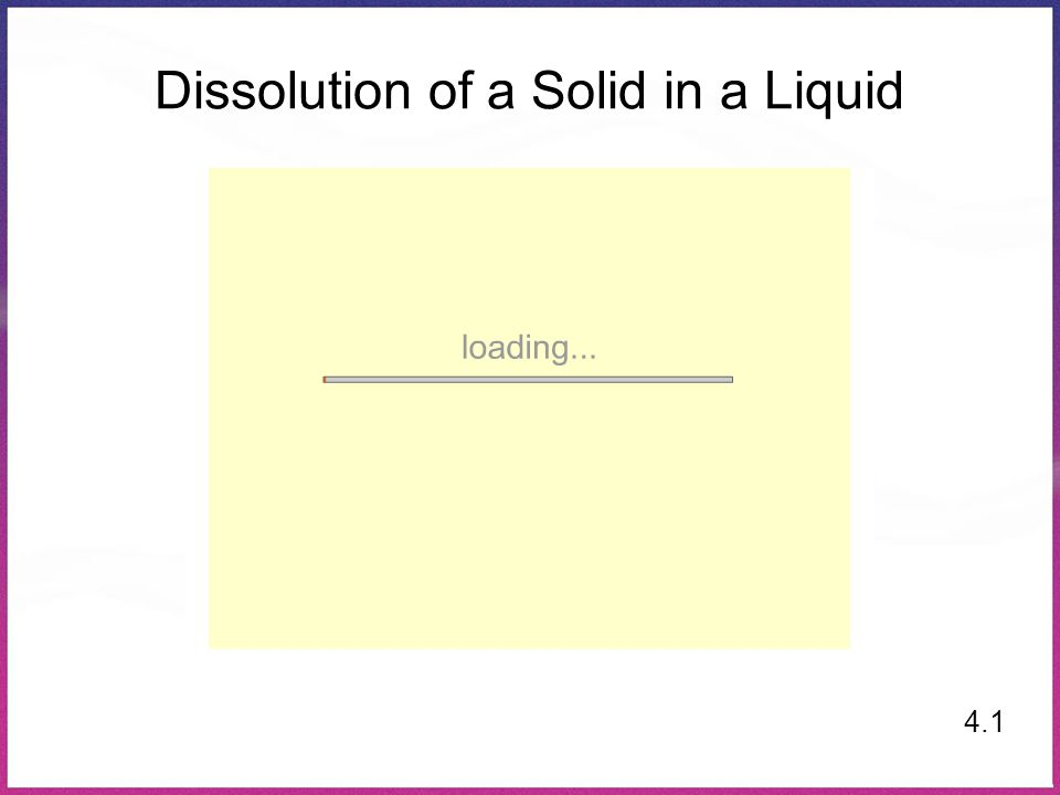 Dissolution of a Solid in a Liquid 4.1