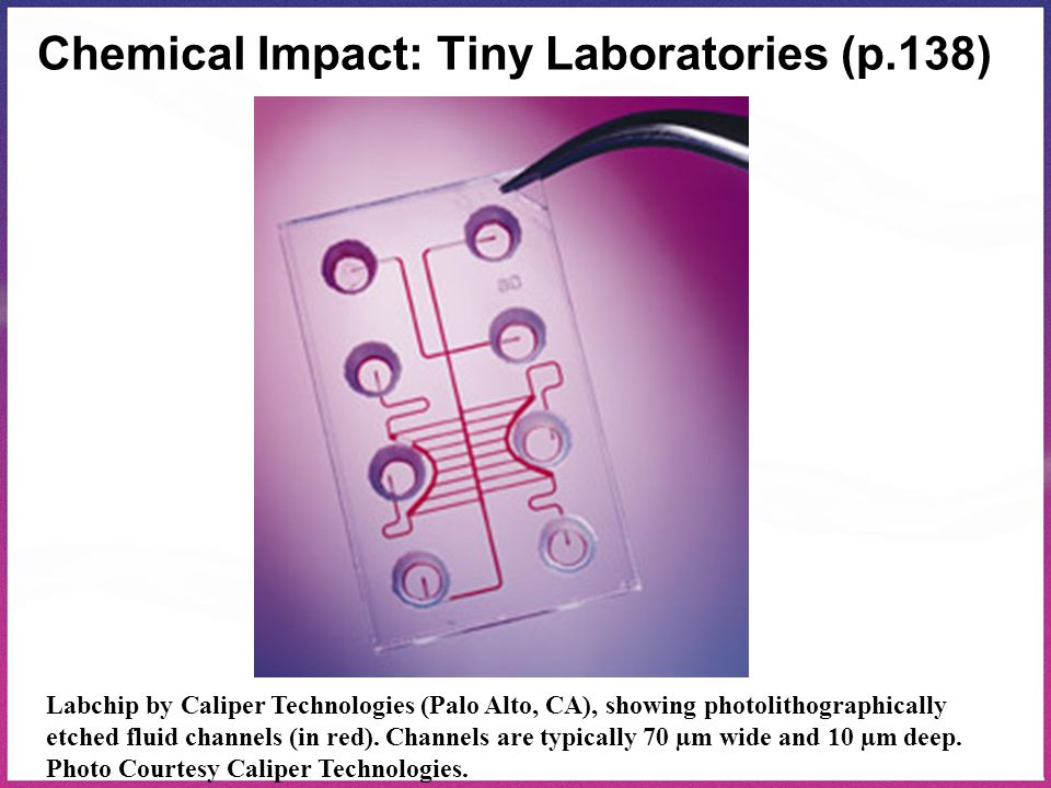 Chemical Impact: Tiny Laboratories (p.138) Labchip by Caliper Technologies (Palo Alto, CA), showing photolithographically etched fluid channels (in re