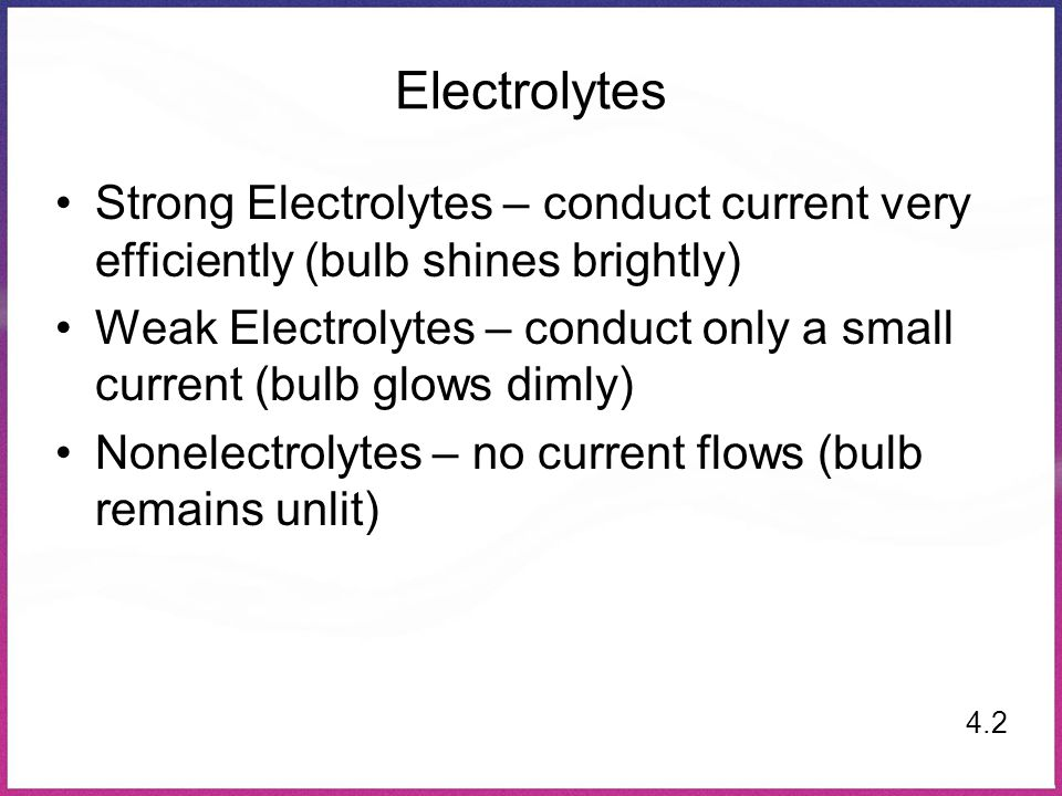 Electrolytes Strong Electrolytes – conduct current very efficiently (bulb shines brightly) Weak Electrolytes – conduct only a small current (bulb glow