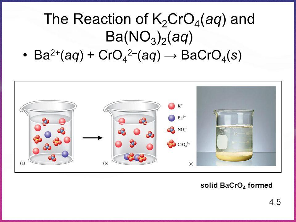 The Reaction of K 2 CrO 4 (aq) and Ba(NO 3 ) 2 (aq) 4.5 Ba 2+ (aq) + CrO 4 2– (aq) → BaCrO 4 (s) solid BaCrO 4 formed