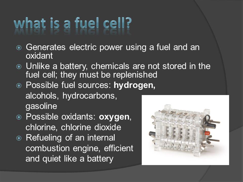  Polymer Electrolyte Membrane (PEM) Fuel Cells  Direct Methanol Fuel Cells  Alkaline Fuel Cells  Phosphoric Acid Fuel Cells  Molten Carbonate Fuel Cells  Solid Oxide Fuel Cells  Regenerative Fuel Cells