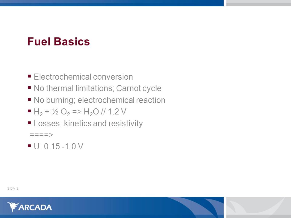 SIDA2 Fuel Basics  Electrochemical conversion  No thermal limitations; Carnot cycle  No burning; electrochemical reaction  H 2 + ½ O 2 => H 2 O // 1.2 V  Losses: kinetics and resistivity ====>  U: 0.15 -1.0 V