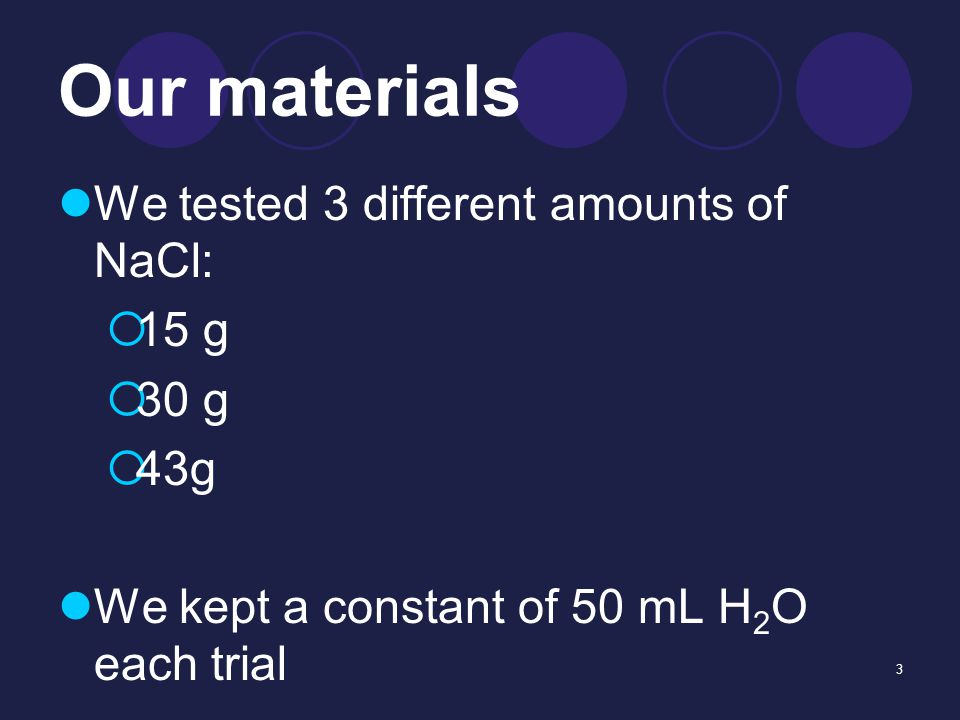 3 Our materials We tested 3 different amounts of NaCl:  15 g  30 g  43g We kept a constant of 50 mL H 2 O each trial