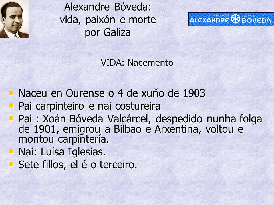 Alexandre Bóveda: vida, paixón e morte por Galiza Naceu en Ourense o 4 de xuño de 1903 Naceu en Ourense o 4 de xuño de 1903 Pai carpinteiro e nai cost