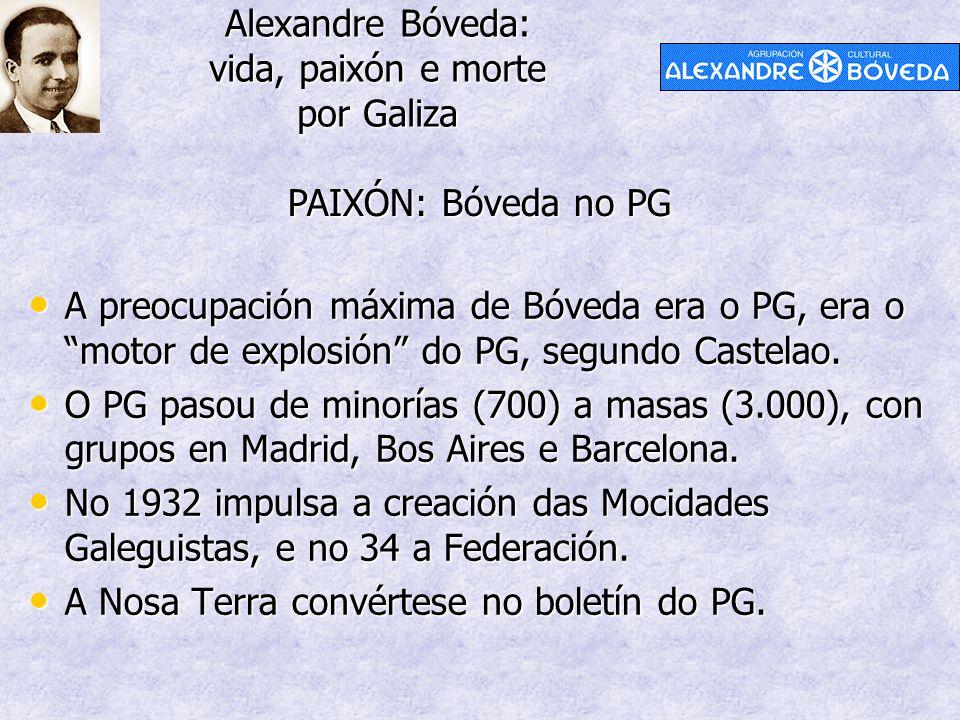 Alexandre Bóveda: vida, paixón e morte por Galiza PAIXÓN: Bóveda no PG A preocupación máxima de Bóveda era o PG, era o motor de explosión do PG, segundo Castelao.
