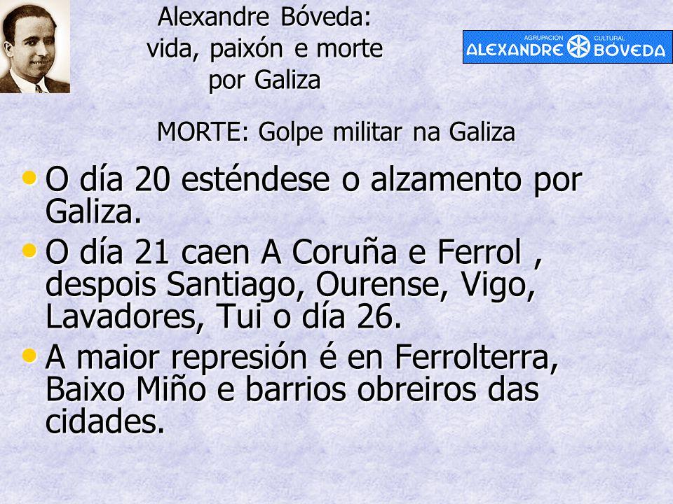 Alexandre Bóveda: vida, paixón e morte por Galiza MORTE: Golpe militar na Galiza O día 20 esténdese o alzamento por Galiza. O día 20 esténdese o alzam