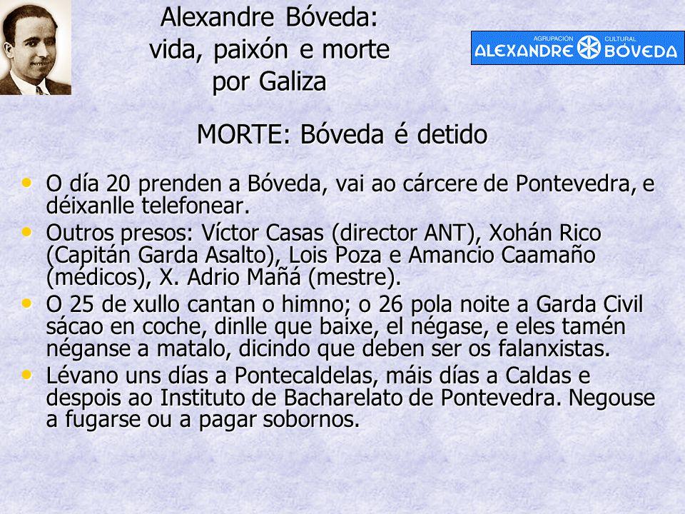 Alexandre Bóveda: vida, paixón e morte por Galiza MORTE: Bóveda é detido O día 20 prenden a Bóveda, vai ao cárcere de Pontevedra, e déixanlle telefonear.