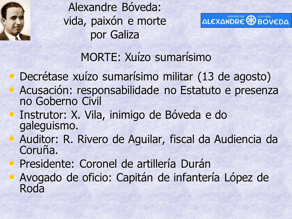 Alexandre Bóveda: vida, paixón e morte por Galiza MORTE: Xuízo sumarísimo Decrétase xuízo sumarísimo militar (13 de agosto) Decrétase xuízo sumarísimo