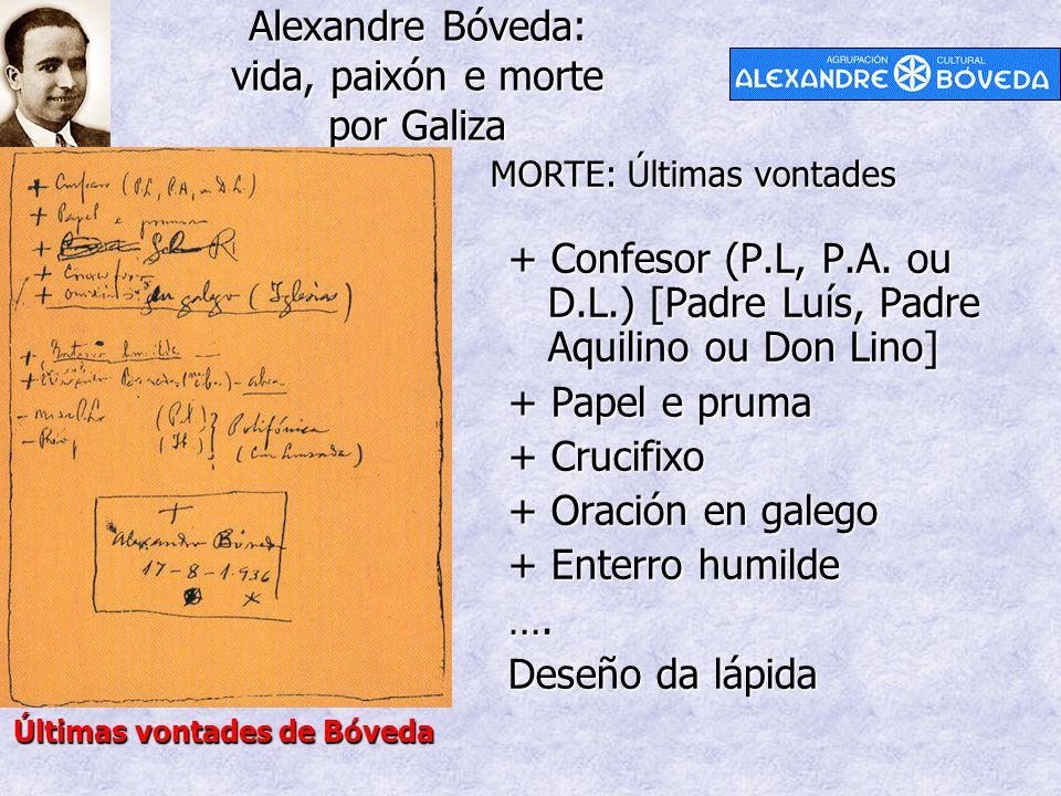 Alexandre Bóveda: vida, paixón e morte por Galiza MORTE: Últimas vontades Últimas vontades de Bóveda + Confesor (P.L, P.A. ou D.L.) [Padre Luís, Padre