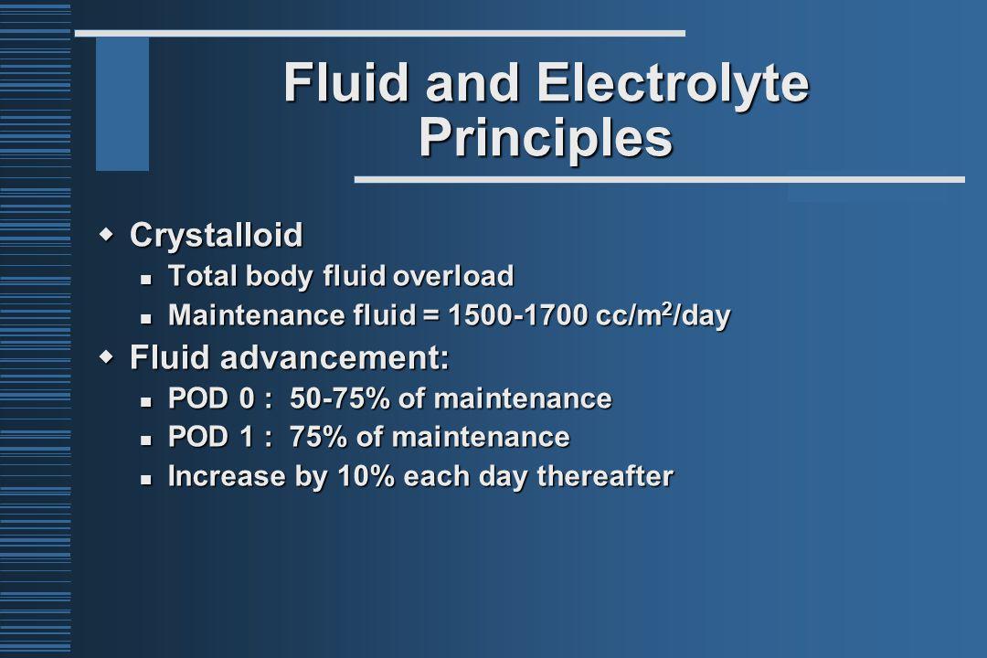 Fluid and Electrolyte Principles  Crystalloid Total body fluid overload Total body fluid overload Maintenance fluid = 1500-1700 cc/m 2 /day Maintenan