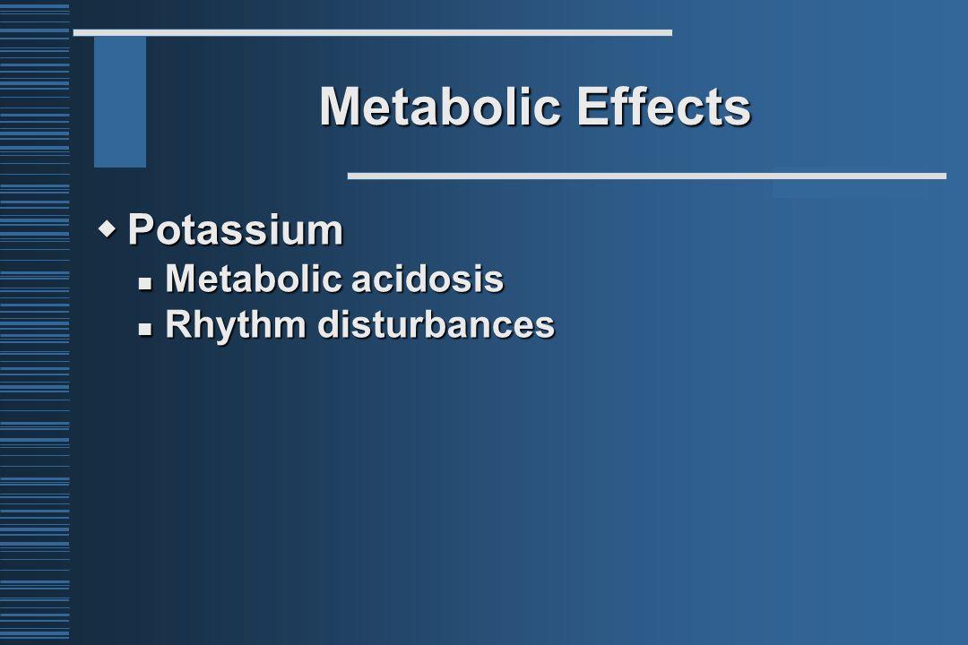 Metabolic Effects  Potassium Metabolic acidosis Metabolic acidosis Rhythm disturbances Rhythm disturbances