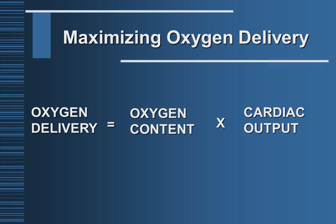 Maximizing Oxygen Delivery OXYGENDELIVERYOXYGENCONTENTCARDIACOUTPUTX =