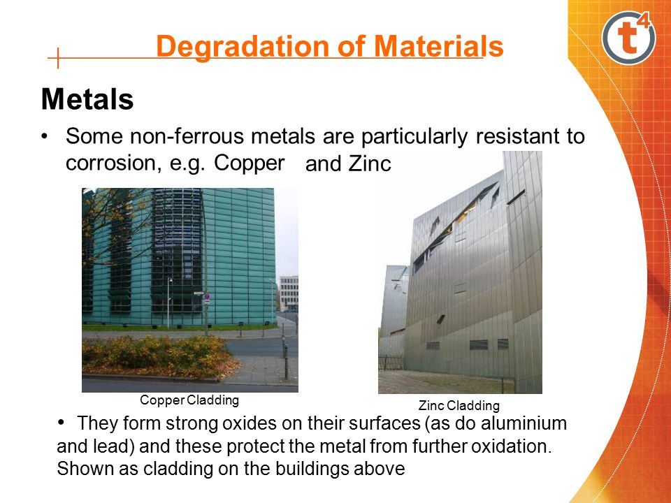Degradation of Materials Metals Some non-ferrous metals are particularly resistant to corrosion, e.g.