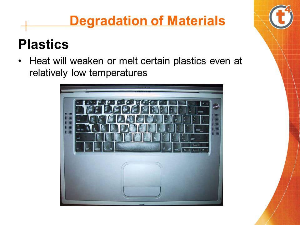 Degradation of Materials Plastics Heat will weaken or melt certain plastics even at relatively low temperatures