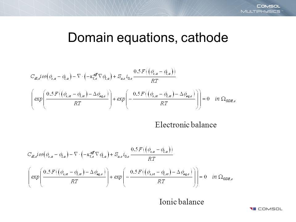 Domain equations, cathode Electronic balance Ionic balance