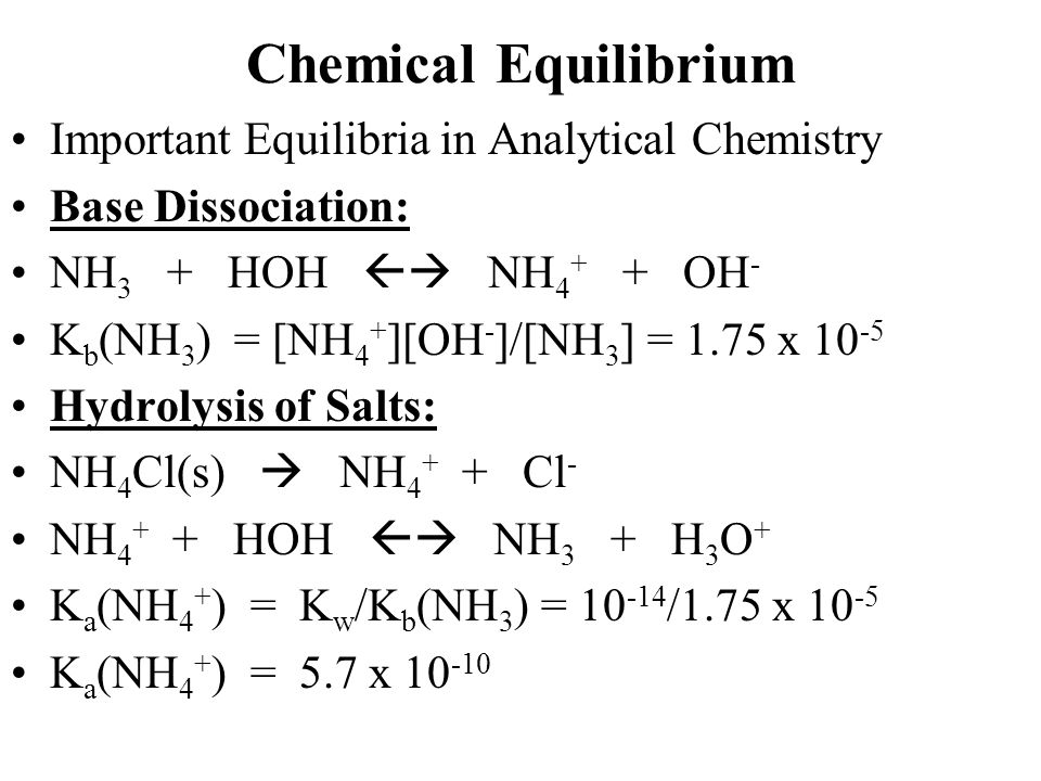 Chemical Equilibrium Important Equilibria in Analytical Chemistry Base Dissociation: NH 3 + HOH  NH 4 + + OH - K b (NH 3 ) = [NH 4 + ][OH - ]/[NH 3 ] = 1.75 x 10 -5 Hydrolysis of Salts: NH 4 Cl(s)  NH 4 + + Cl - NH 4 + + HOH  NH 3 + H 3 O + K a (NH 4 + ) = K w /K b (NH 3 ) = 10 -14 /1.75 x 10 -5 K a (NH 4 + ) = 5.7 x 10 -10