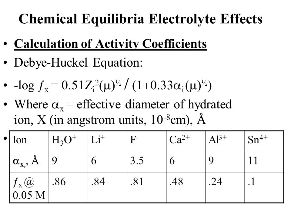 Chemical Equilibria Electrolyte Effects Calculation of Activity Coefficients Debye-Huckel Equation: -log ƒ x = 0.51Z i 2  ½    i  ½  Where  x = effective diameter of hydrated ion, X (in angstrom units, 10 -8 cm), Å IonH3O+H3O+ Li + F-F- Ca 2+ Al 3+ Sn 4+  x,, Å 963.56911 ƒ x @ 0.05 M.86.84.81.48.24.1
