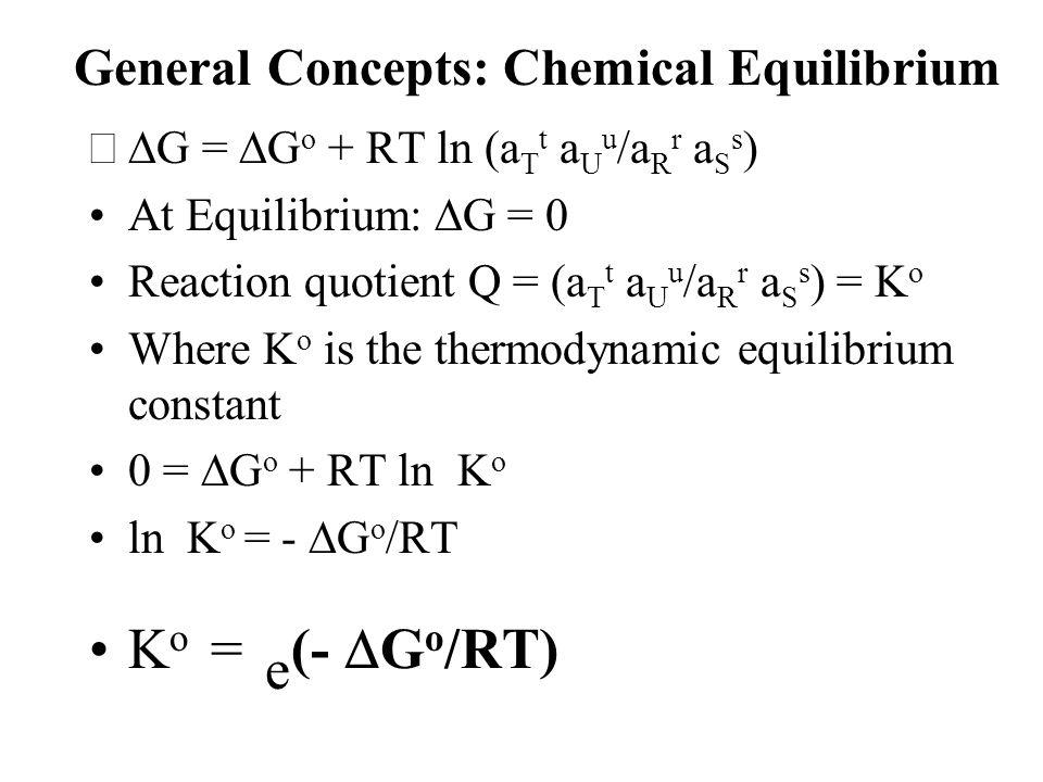 General Concepts: Chemical Equilibrium  G =  G o + RT ln (a T t a U u /a R r a S s ) At Equilibrium:  G = 0 Reaction quotient Q = (a T t a U u /a