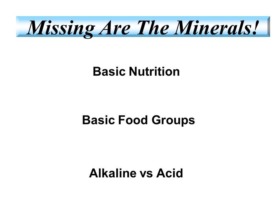 Basic Nutrition Basic Food Groups Alkaline vs Acid Missing Are The Minerals!