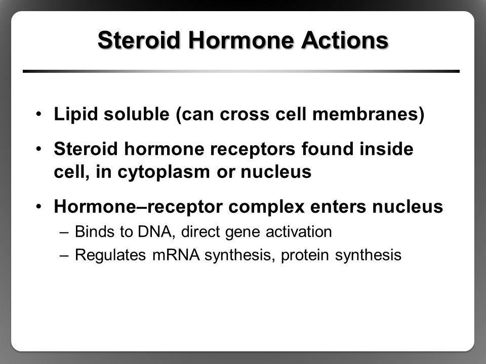 Steroid Hormone Actions Lipid soluble (can cross cell membranes) Steroid hormone receptors found inside cell, in cytoplasm or nucleus Hormone–receptor