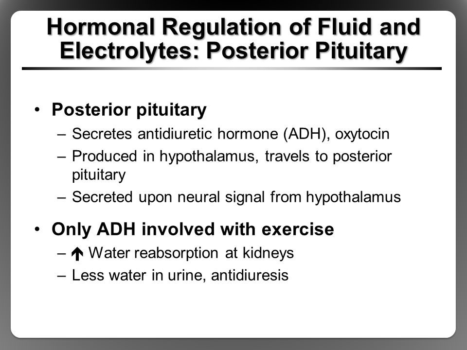 Hormonal Regulation of Fluid and Electrolytes: Posterior Pituitary Posterior pituitary –Secretes antidiuretic hormone (ADH), oxytocin –Produced in hyp