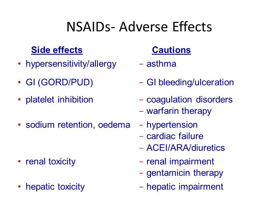 NSAIDs- Adverse Effects Side effectsCautions hypersensitivity/allergy - asthma GI (GORD/PUD) - GI bleeding/ulceration platelet inhibition - coagulatio