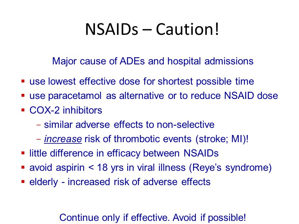 NSAIDs – Caution! Major cause of ADEs and hospital admissions  use lowest effective dose for shortest possible time  use paracetamol as alternative
