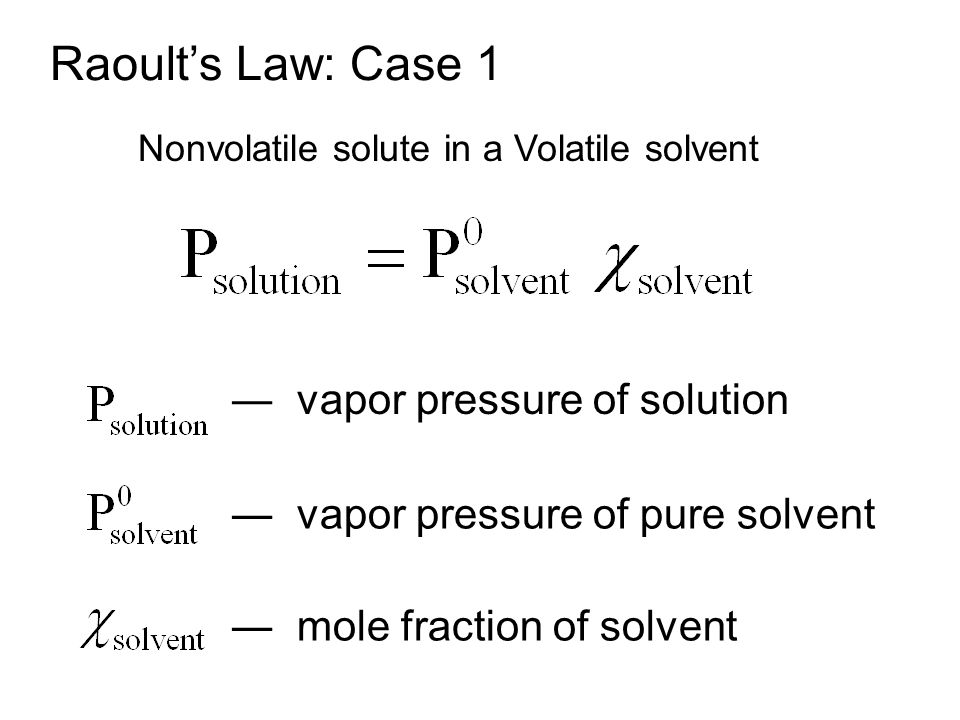 For a Solution that Obeys Raoult s Law, a Plot of P soln Versus X solvent, Give a Straight Line