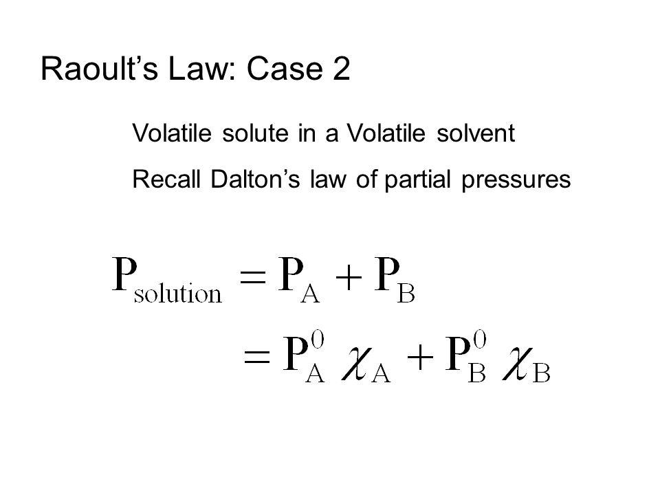 X A + X B = 1 Vapor Pressure for a Solution of Two Volatile Liquids