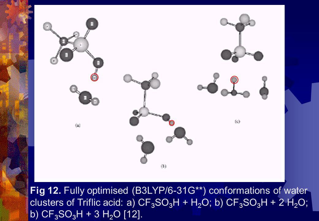 Fig 12. Fully optimised (B3LYP/6-31G**) conformations of water clusters of Triflic acid: a) CF 3 SO 3 H + H 2 O; b) CF 3 SO 3 H + 2 H 2 O; b) CF 3 SO