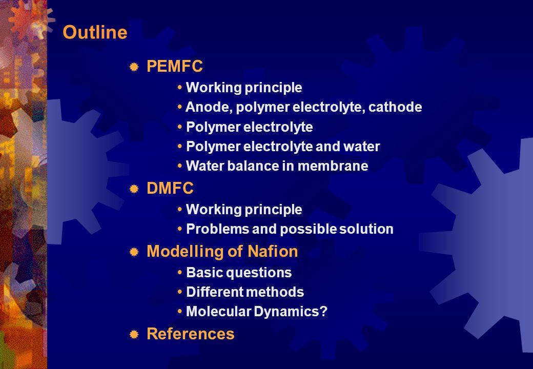 PEMFC: Anode, polymer electrolyte, cathode Fig 6.