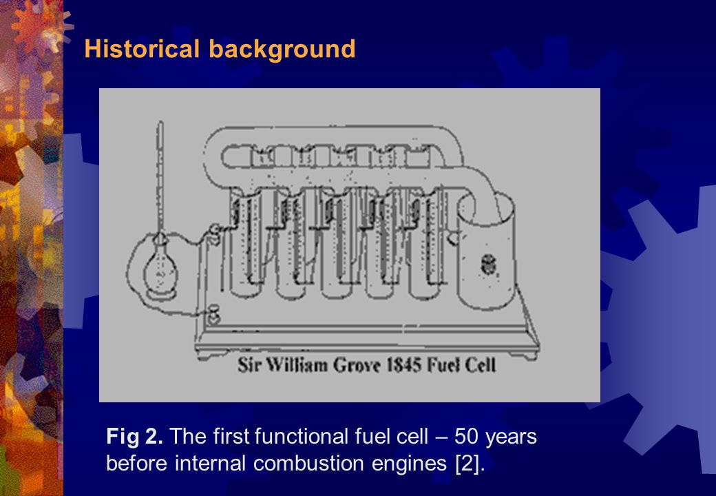 Historical background Fig 2. The first functional fuel cell – 50 years before internal combustion engines [2].
