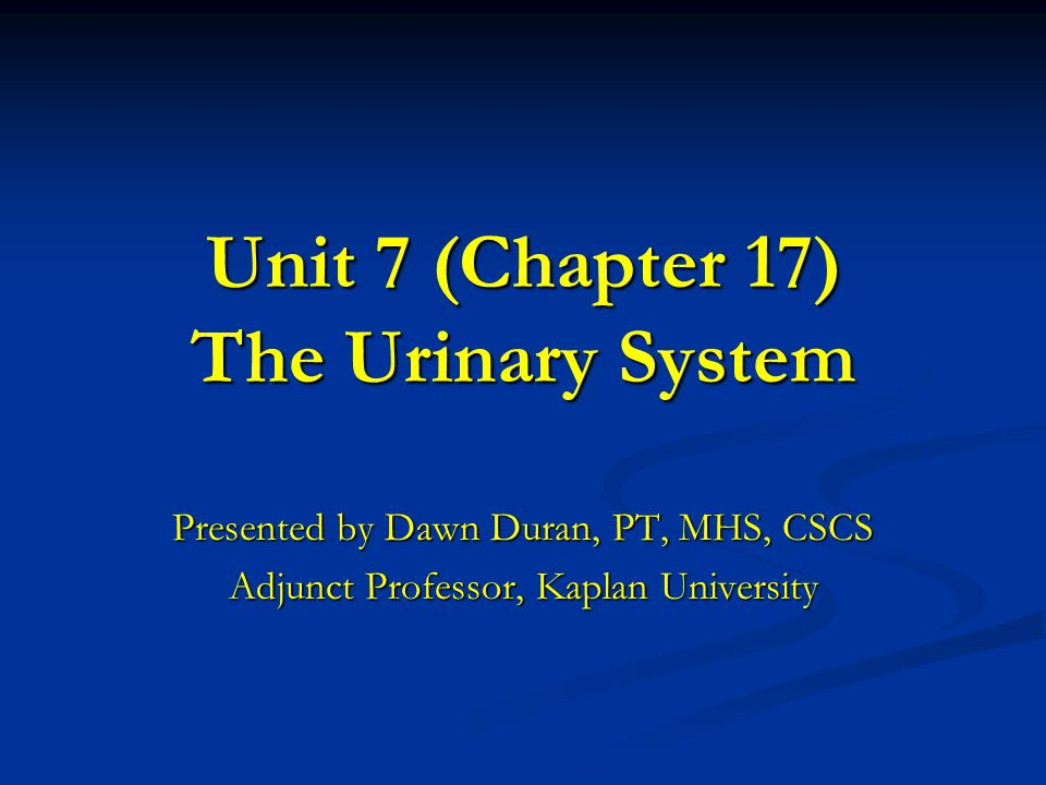Unit 7 (Chapter 17) The Urinary System Presented by Dawn Duran, PT, MHS, CSCS Adjunct Professor, Kaplan University