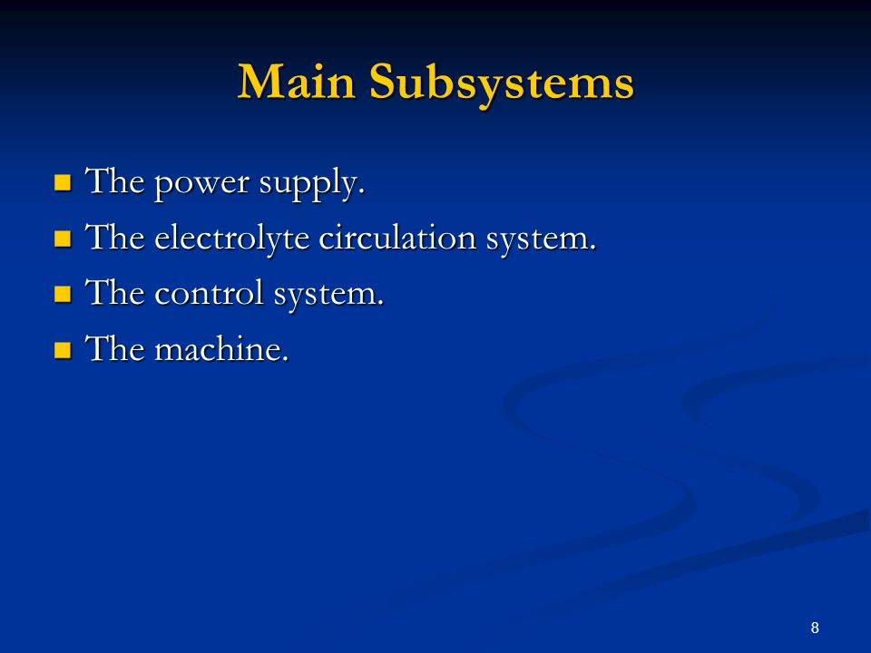 8 Main Subsystems The power supply. The power supply. The electrolyte circulation system. The electrolyte circulation system. The control system. The