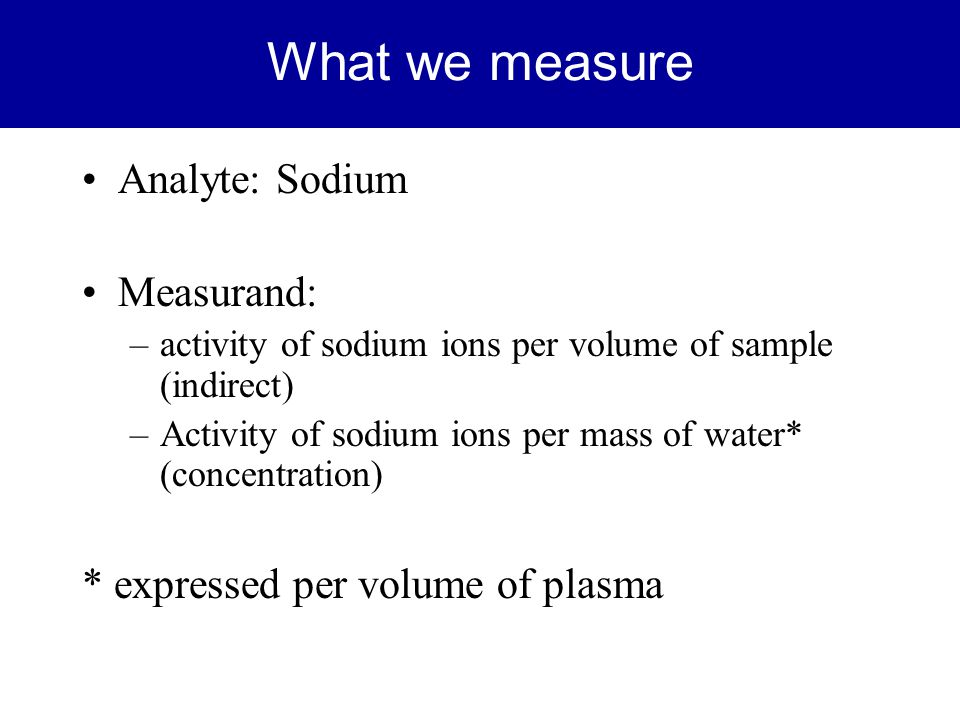What we measure Analyte: Sodium Measurand: –activity of sodium ions per volume of sample (indirect) –Activity of sodium ions per mass of water* (conce