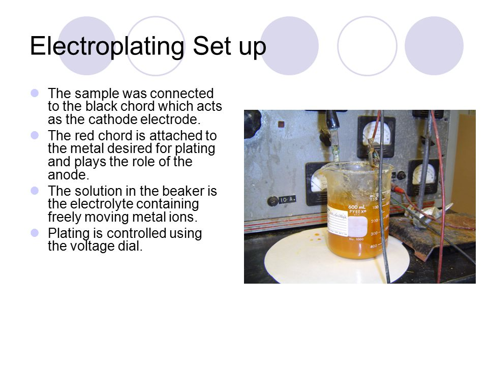 Electroplating Set up The sample was connected to the black chord which acts as the cathode electrode.