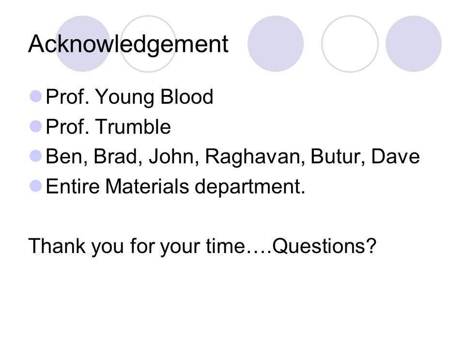 Acknowledgement Prof. Young Blood Prof.