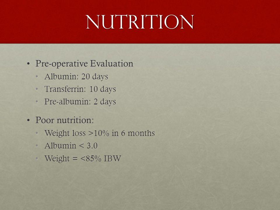 Nutrition Pre-operative EvaluationPre-operative Evaluation Albumin: 20 daysAlbumin: 20 days Transferrin: 10 daysTransferrin: 10 days Pre-albumin: 2 daysPre-albumin: 2 days Poor nutrition:Poor nutrition: Weight loss >10% in 6 monthsWeight loss >10% in 6 months Albumin < 3.0Albumin < 3.0 Weight = <85% IBWWeight = <85% IBW