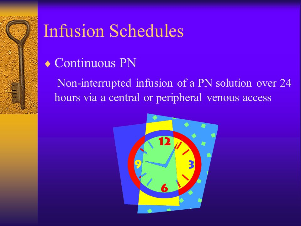  Continuous PN Non-interrupted infusion of a PN solution over 24 hours via a central or peripheral venous access