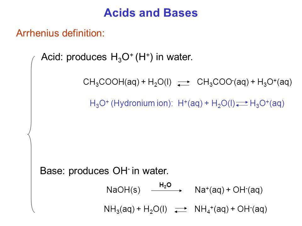 Acids and Bases NH 3 (aq) + H 2 O(l) NH 4 + (aq) + OH - (aq) Acid: produces H 3 O + (H + ) in water. Base: produces OH - in water. Arrhenius definitio