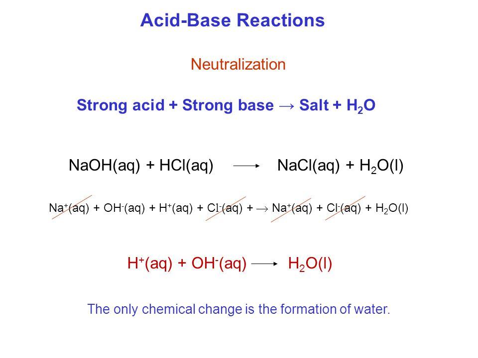 Acid-Base Reactions Neutralization NaOH(aq) + HCl(aq) NaCl(aq) + H 2 O(l) Na + (aq) + OH - (aq) + H + (aq) + C l - (aq) +  Na + (aq) + Cl - (aq) + H