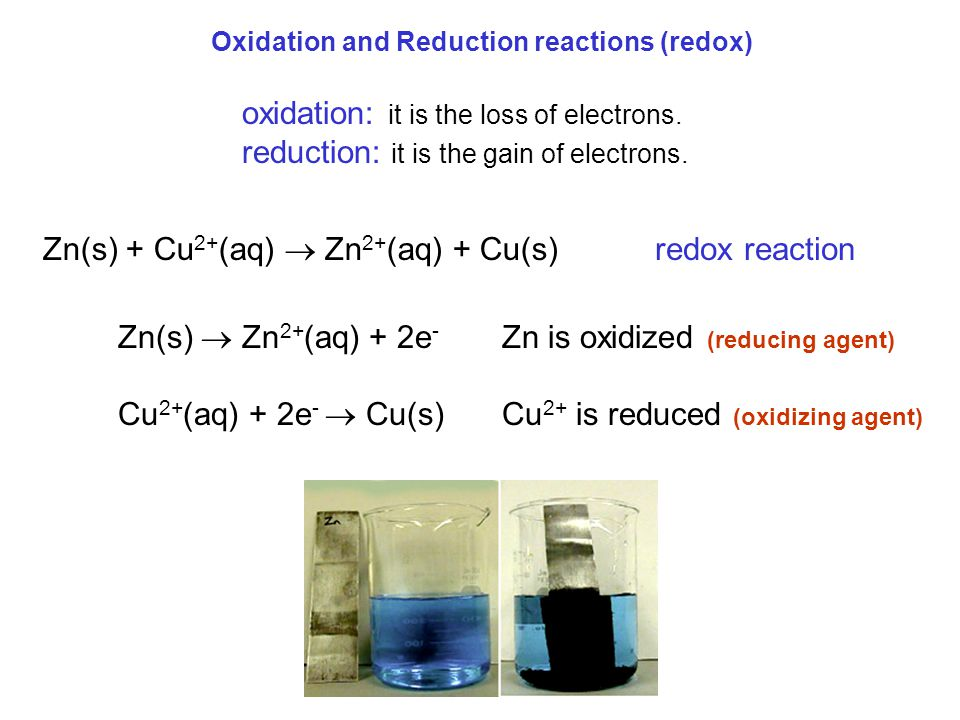 Oxidation and Reduction reactions (redox) Zn(s)  Zn 2+ (aq) + 2e - Zn is oxidized (reducing agent) Cu 2+ (aq) + 2e -  Cu(s)Cu 2+ is reduced (oxidizi