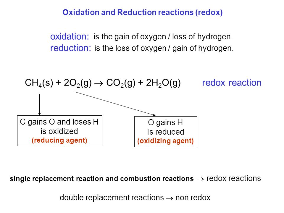 Oxidation and Reduction reactions (redox) oxidation: is the gain of oxygen / loss of hydrogen. reduction: is the loss of oxygen / gain of hydrogen. CH