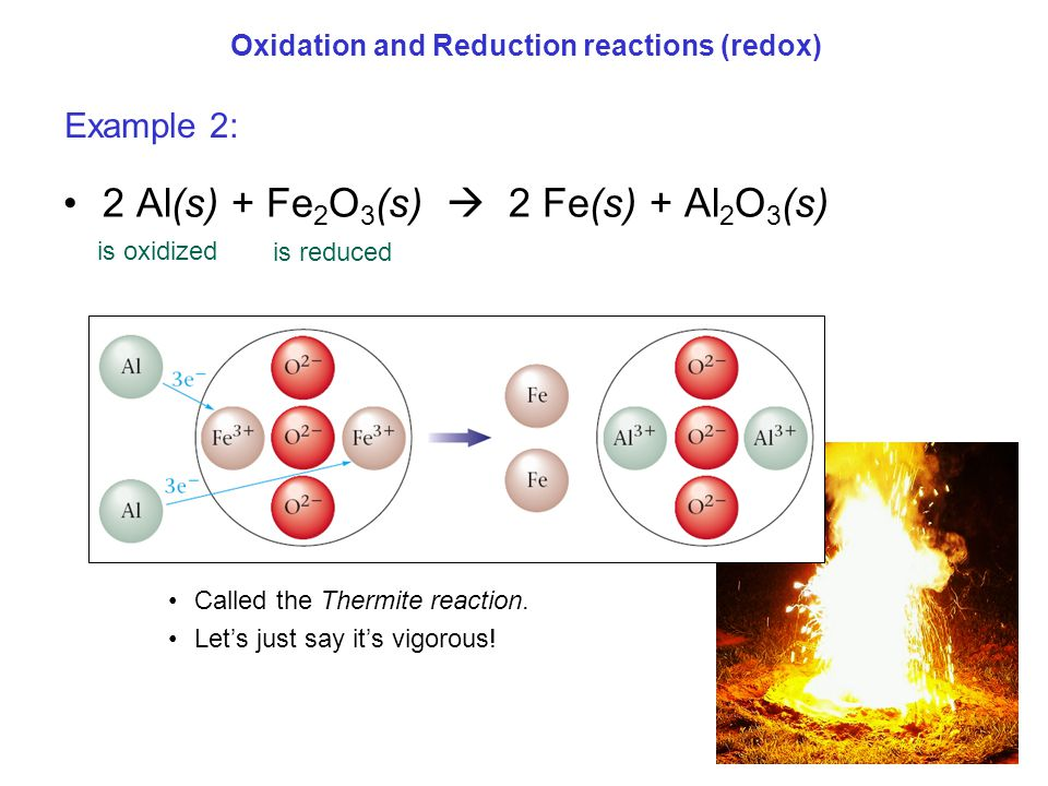 Oxidation and Reduction reactions (redox) 2 Al(s) + Fe 2 O 3 (s)  2 Fe(s) + Al 2 O 3 (s) Called the Thermite reaction. Let's just say it's vigorous!